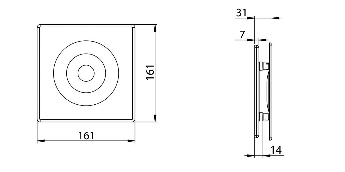 Awenta ORION ventilatoru priekšējā paneļa izmēri