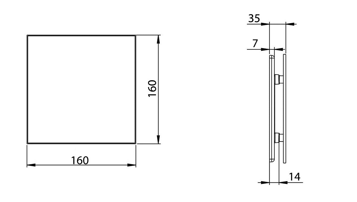 Awenta VERTICO priekšējā paneļa izmēri