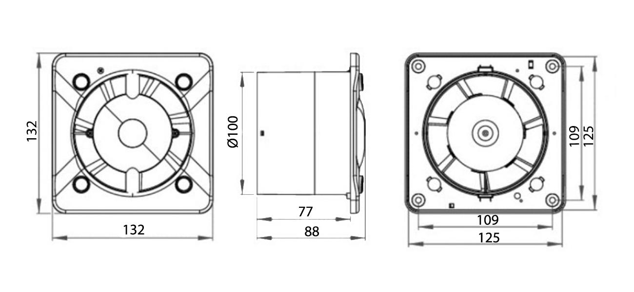Awenta System+ KWT100CTR Turbo ventilatora izmēri