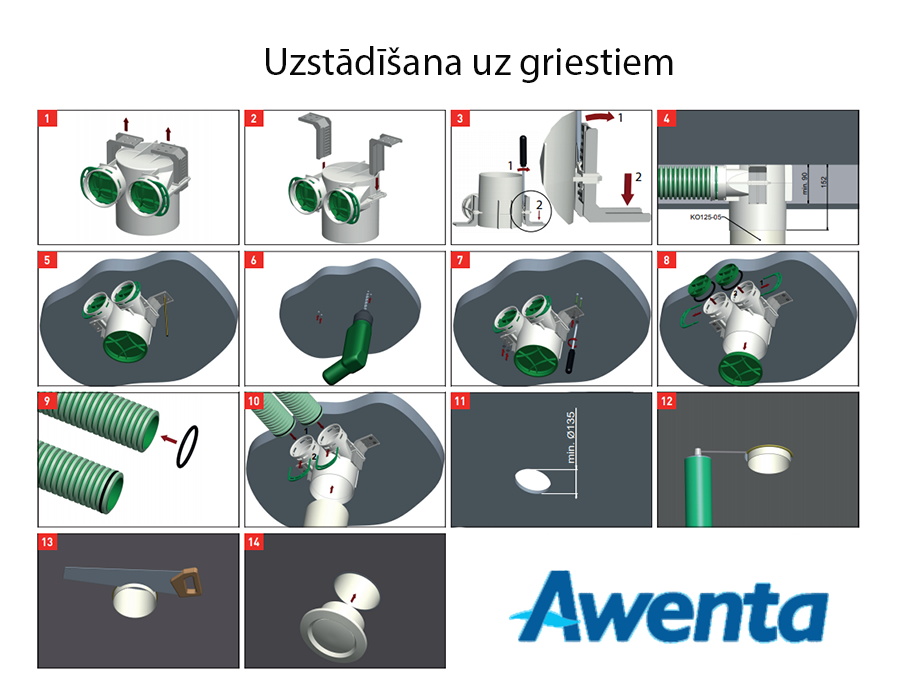 Awenta VPB125-2 uzstādīšana uz griestiem