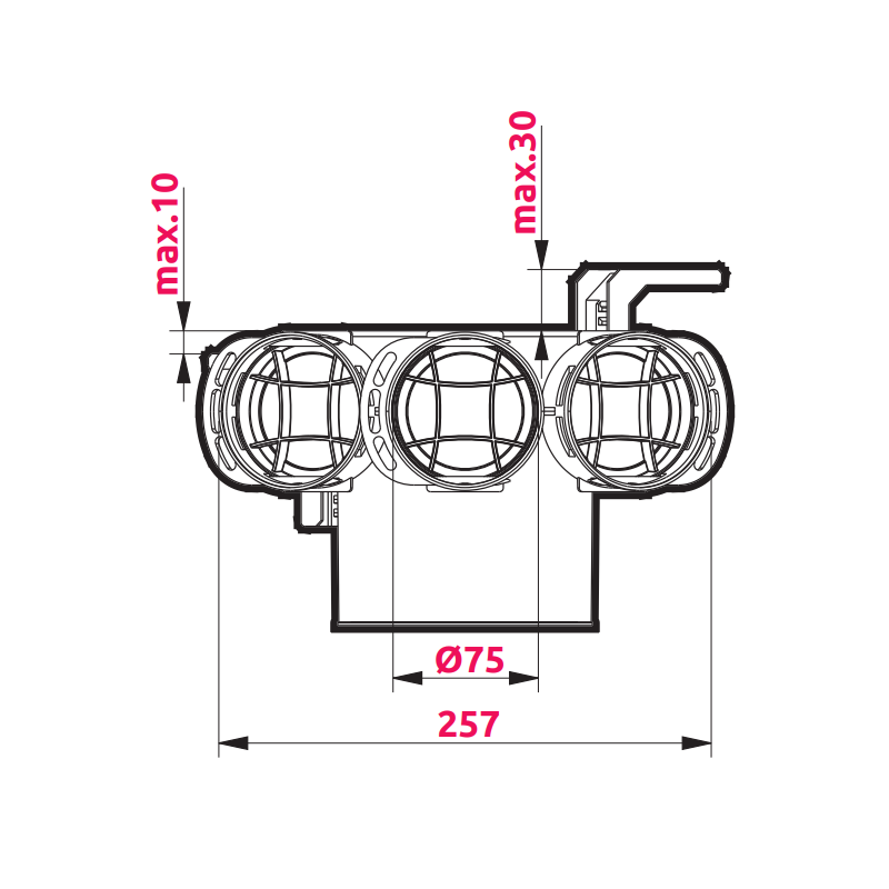 Awenta VPB125-3 izmēri 1