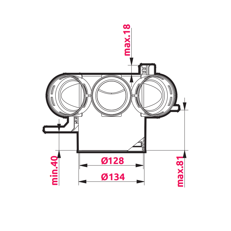 Awenta VPB125-3 izmēri 2