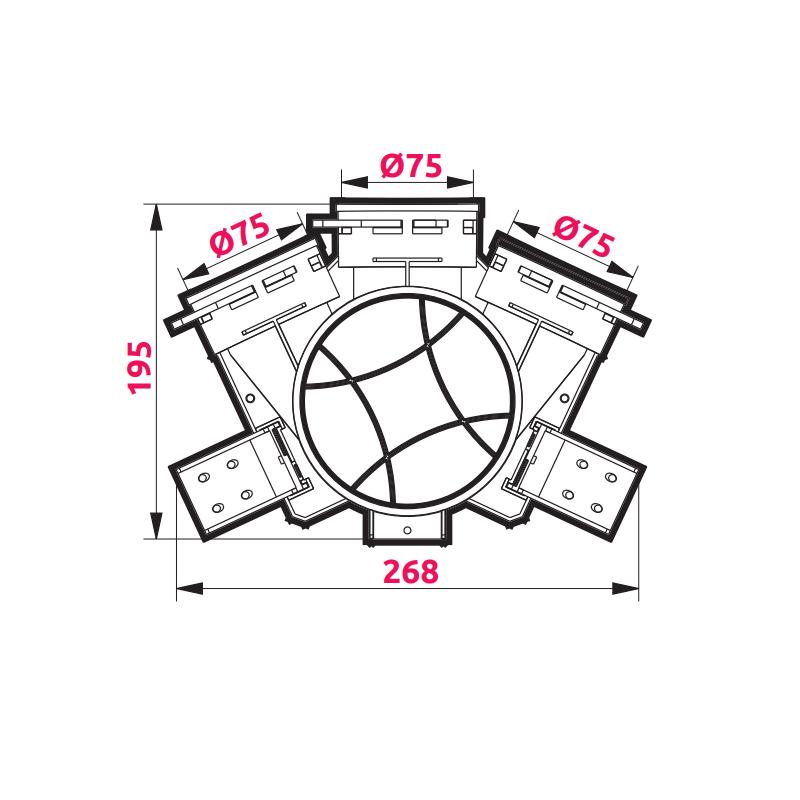 Awenta VPB125-3 izmēri 3