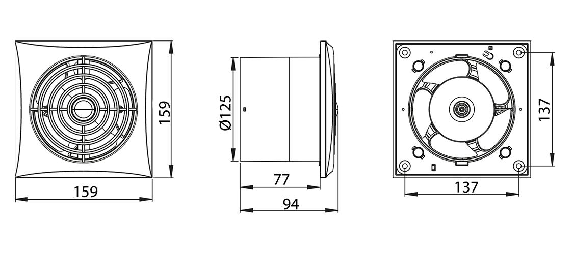 Awenta Silence WZ125W ventilatora izmēri