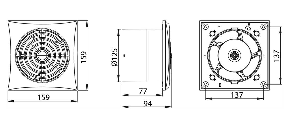 Awenta Silence WZ125R ventilatora izmēri