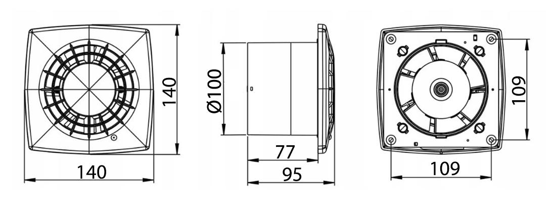 Awenta Vega WGB100W ventilatora izmēri