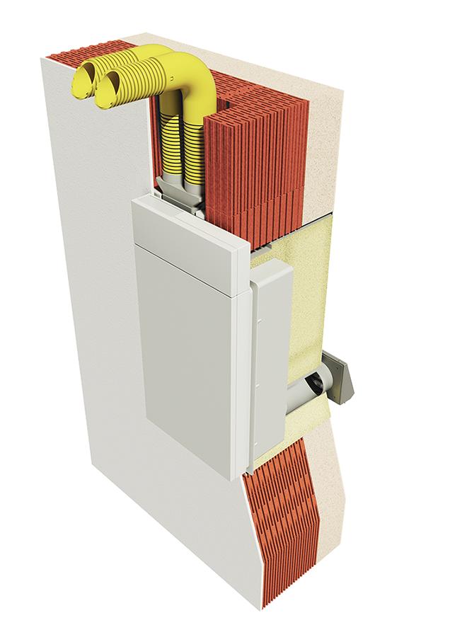 Meltem M-WRG-II P-FC slēptā uzstādīšana ar caurulēm