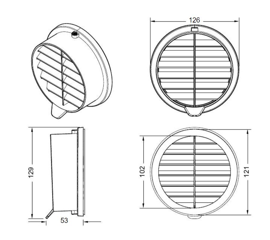Meltem M-WRG-II ārējā difuzora izmēri
