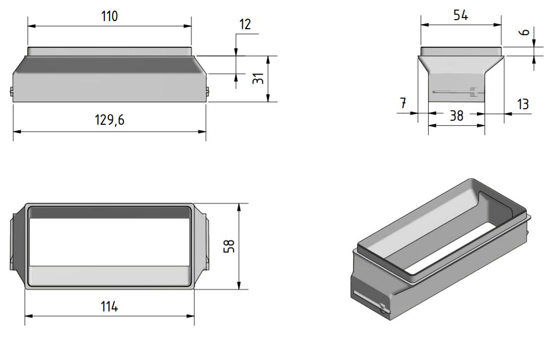 Meltem M-WRG-II KA plakano gaisa vadu adaptera izmēri