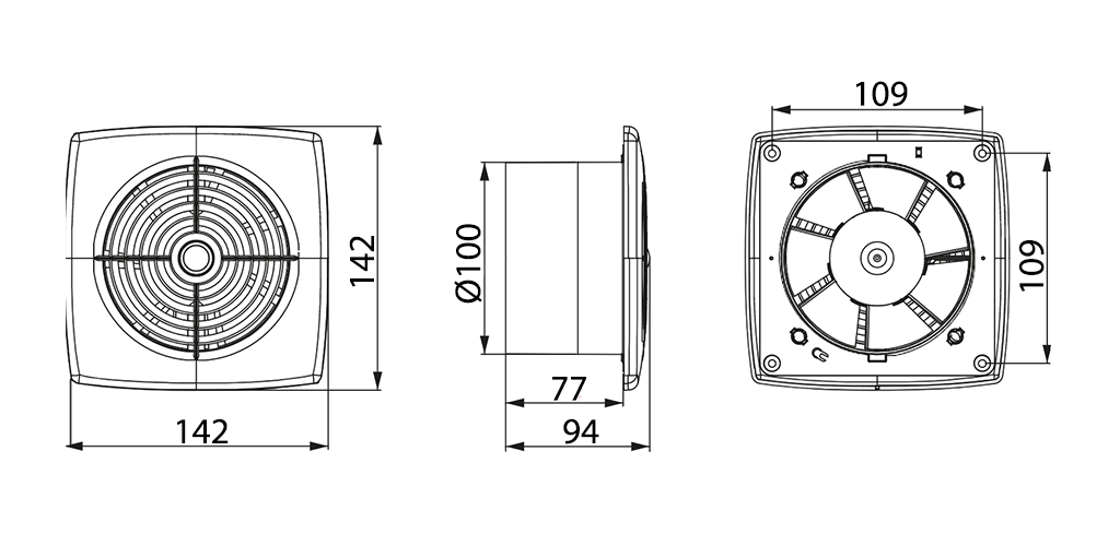 Awenta Retis WR100 ventilatora izmēri