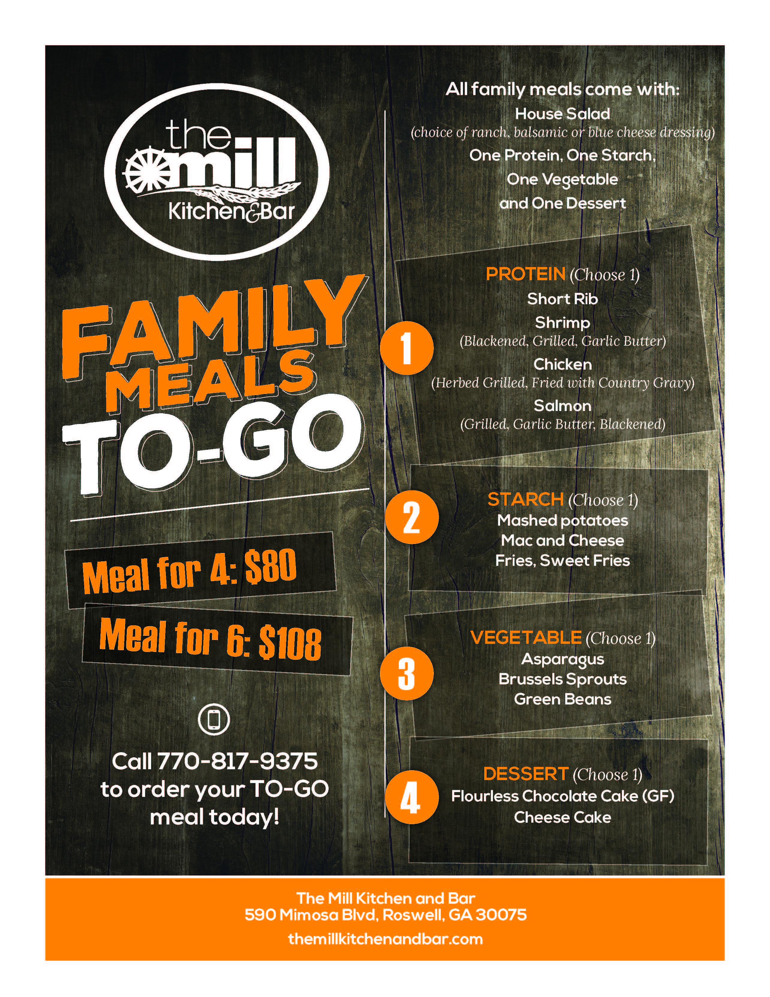the mill family meals to go
