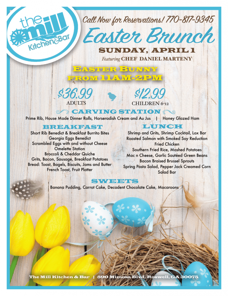 Easter Brunch With The Easter Bunny The Mill Kichen And Bar