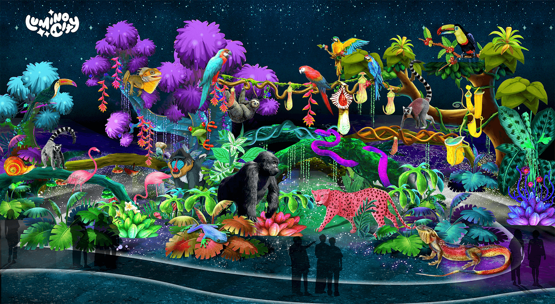 the-lush-rainforest-the-wild-adventure-light-arts-luminocity-festival