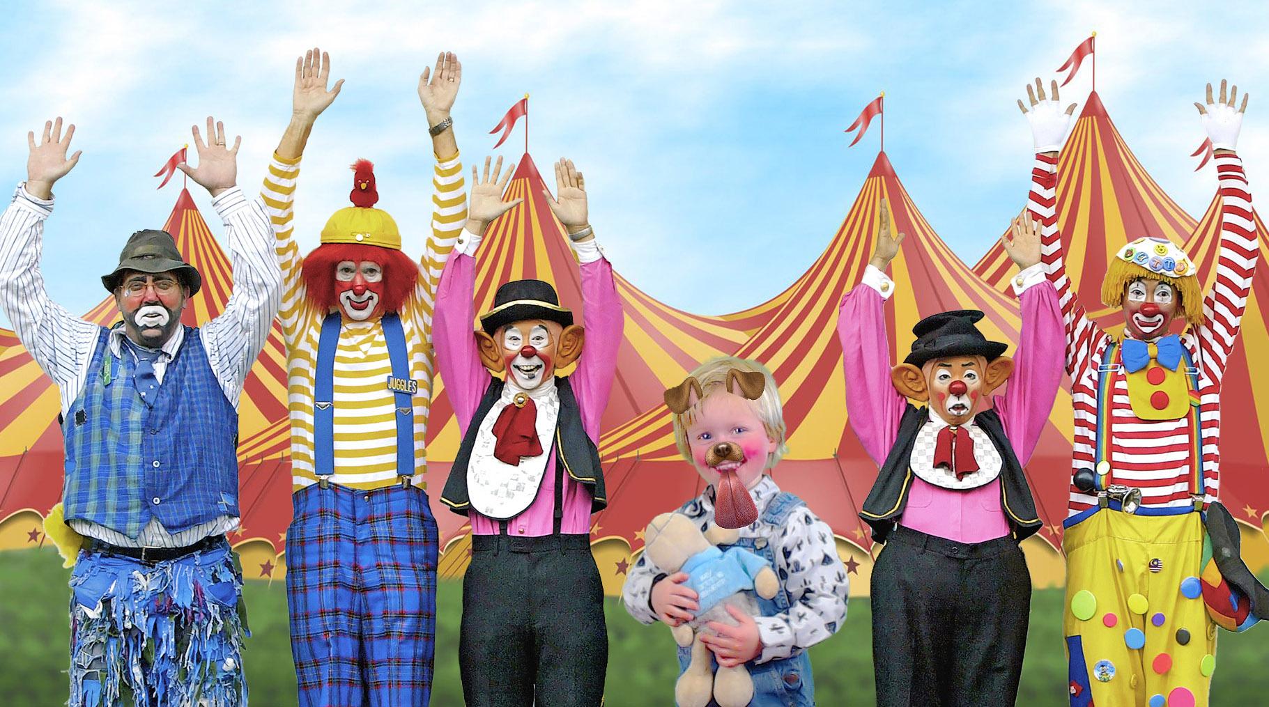 green screen foto met clowns