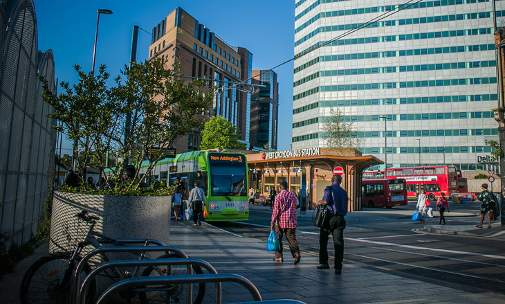 tram and west croydon bus station in the sun