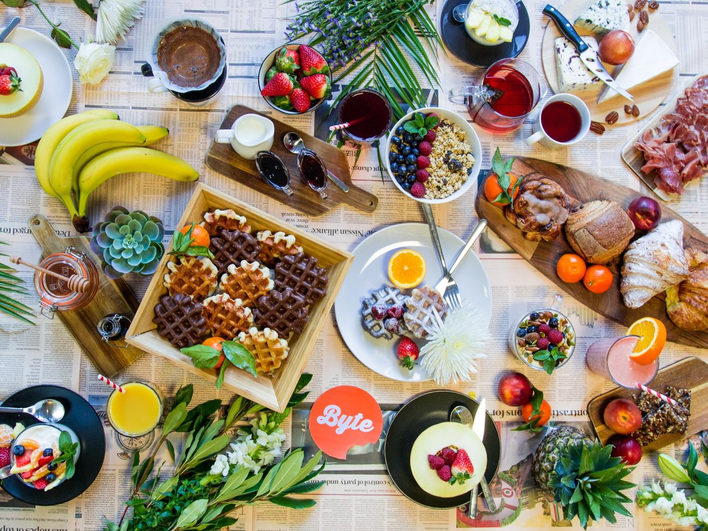 breakfast spread supplied by Byte cafe