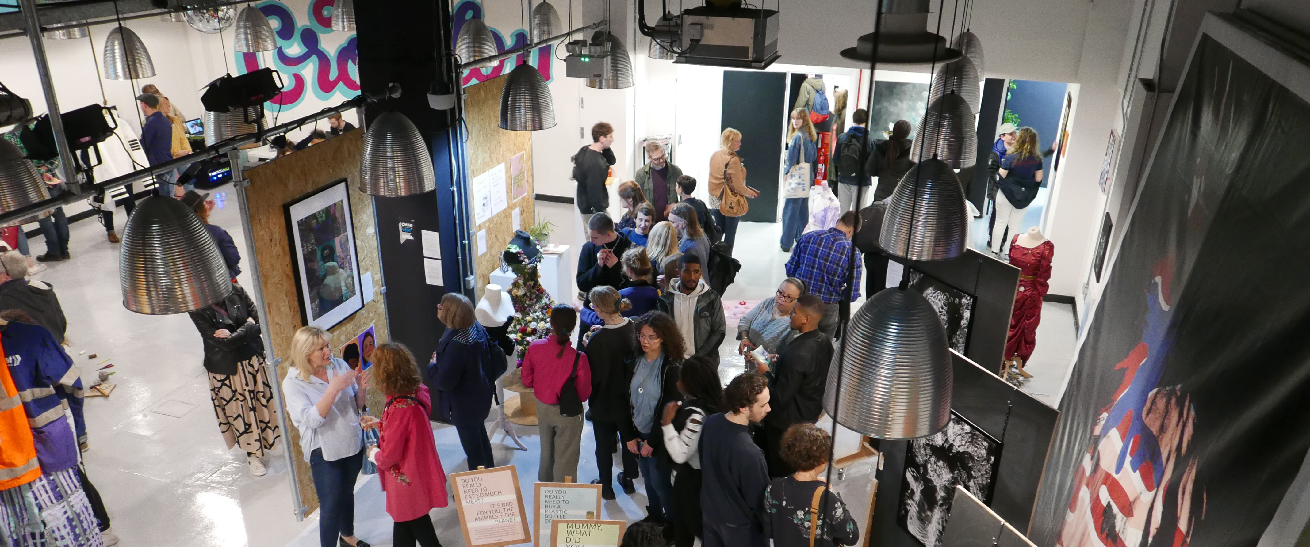 Populated art exhibition