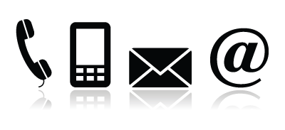 phone, mobile, email, and @ icons
