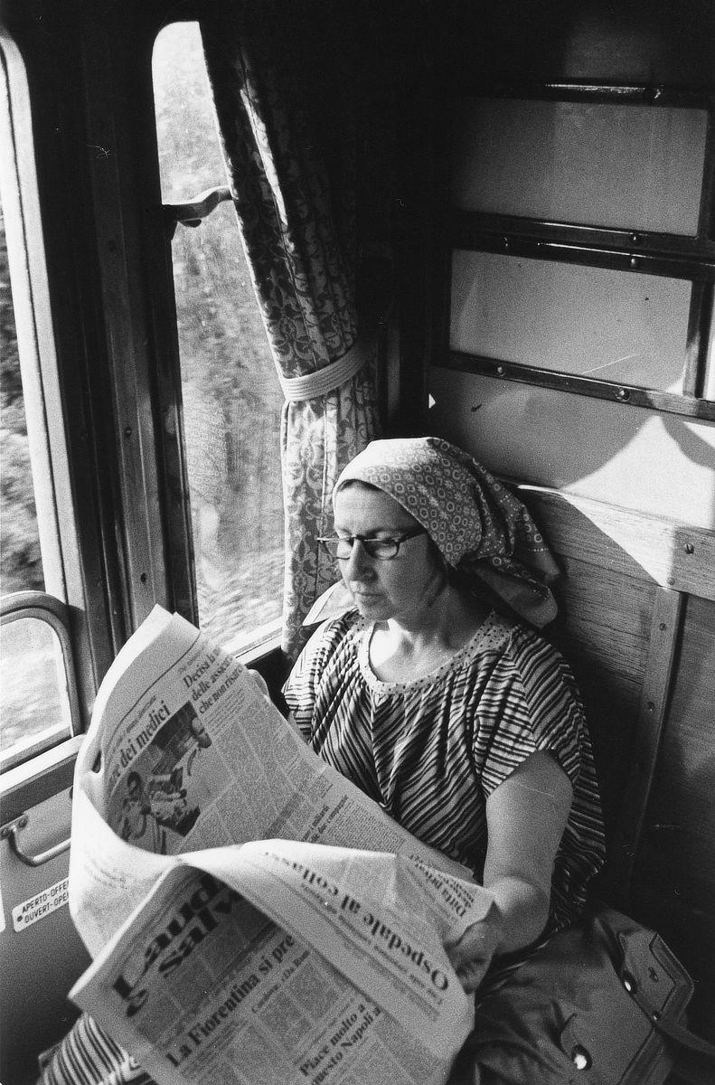 Betty Woodman on a train