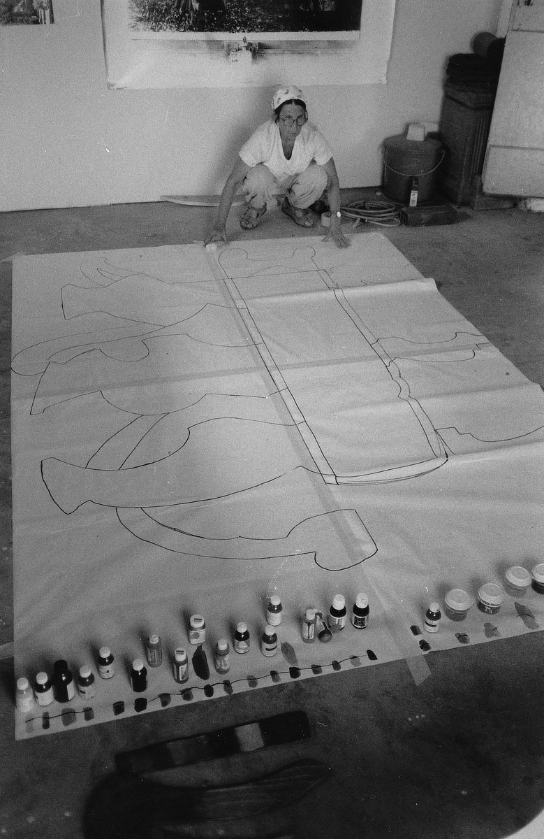 Betty Woodman working in her studio.