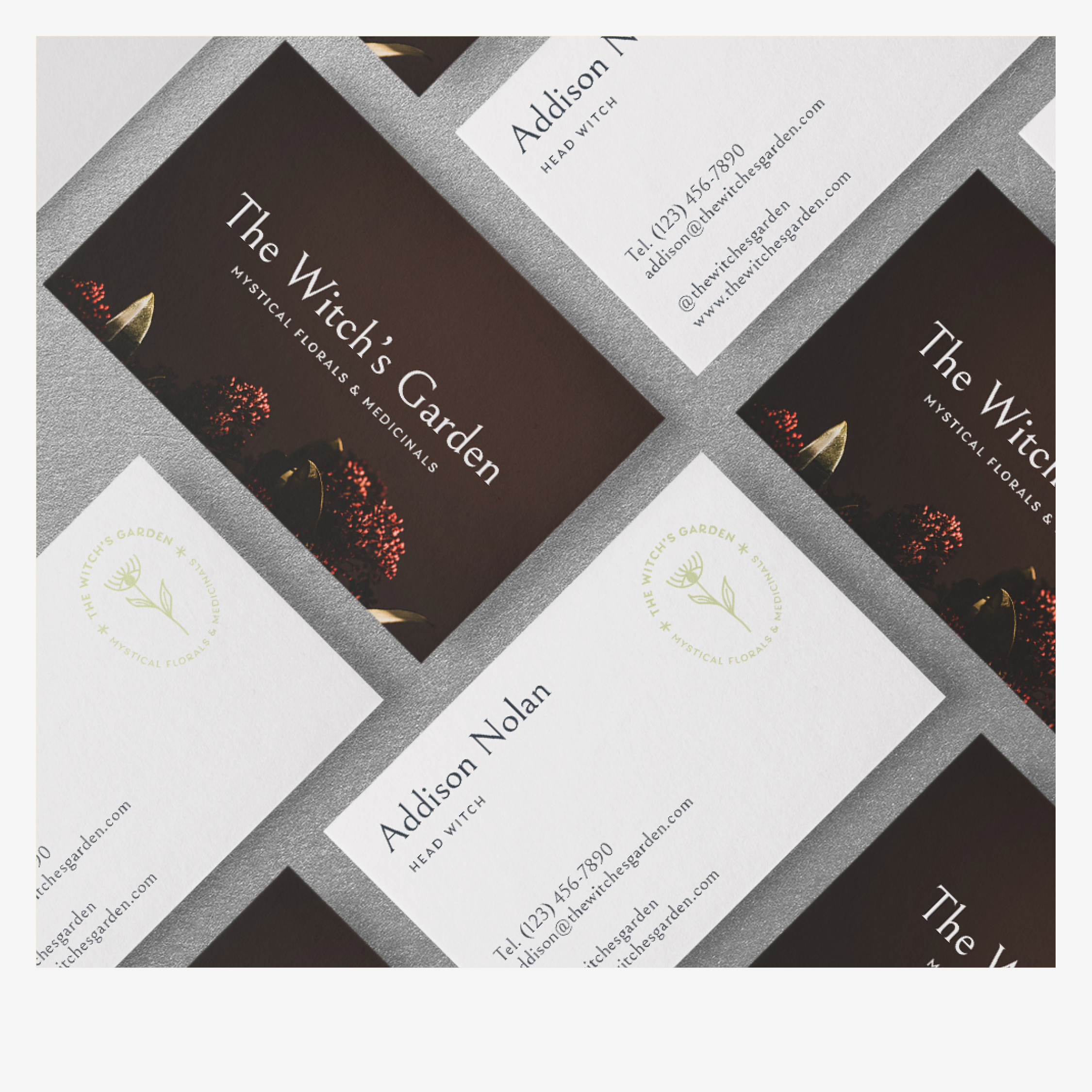 Business cards for The Witch's Garden