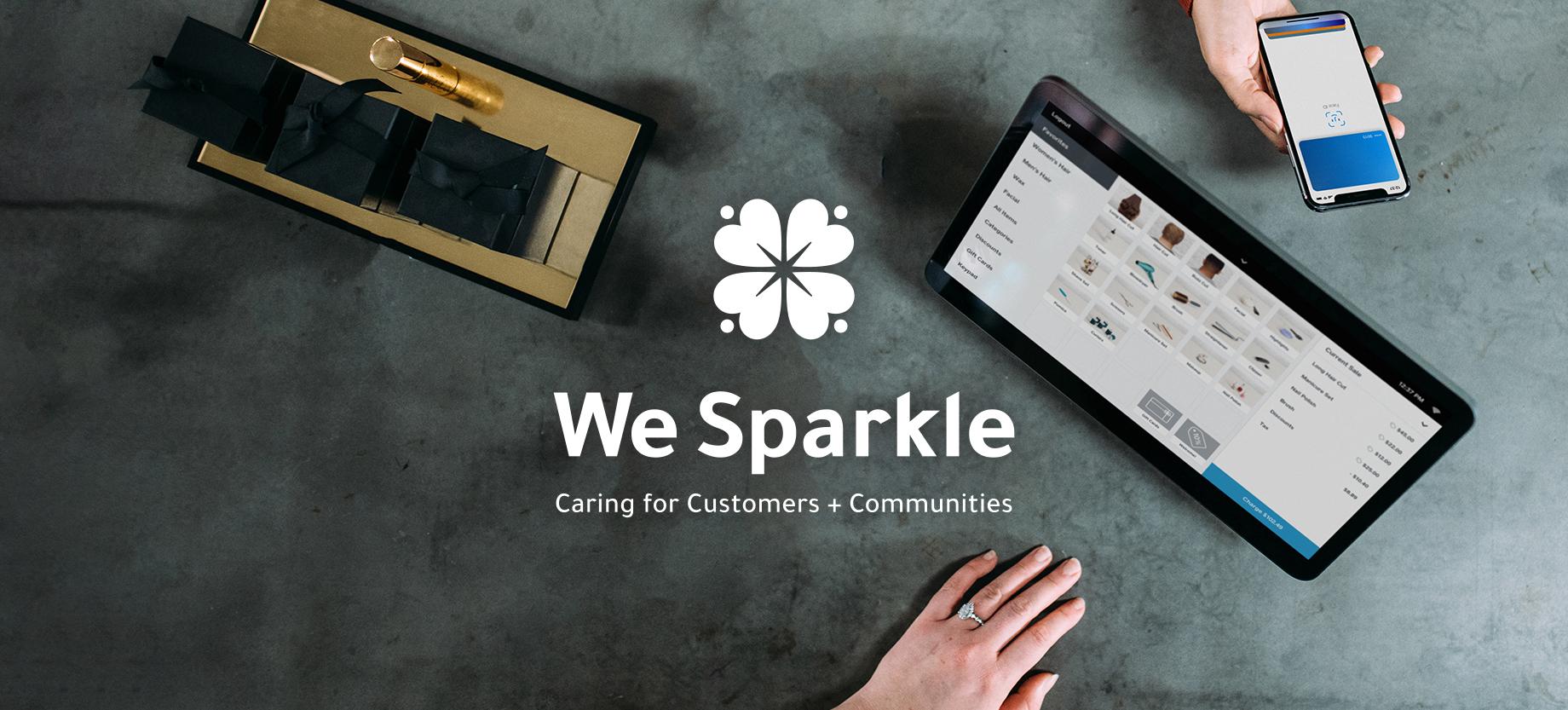 Photo of digital transaction with We Sparkle logo