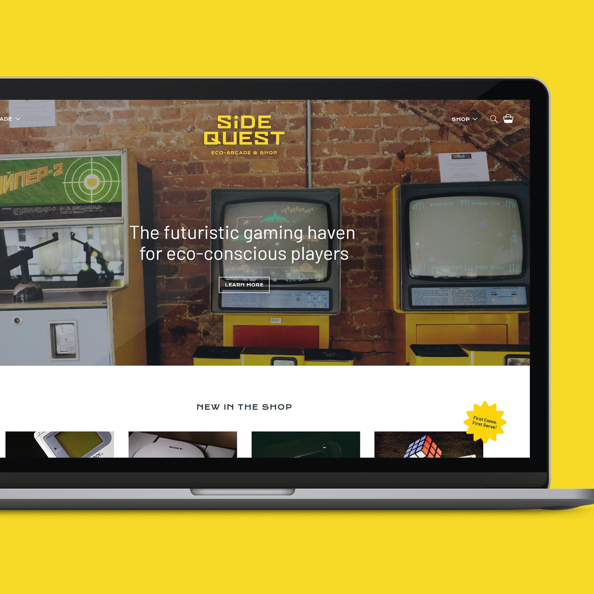 Desktop view of Side Quest's Shopify website