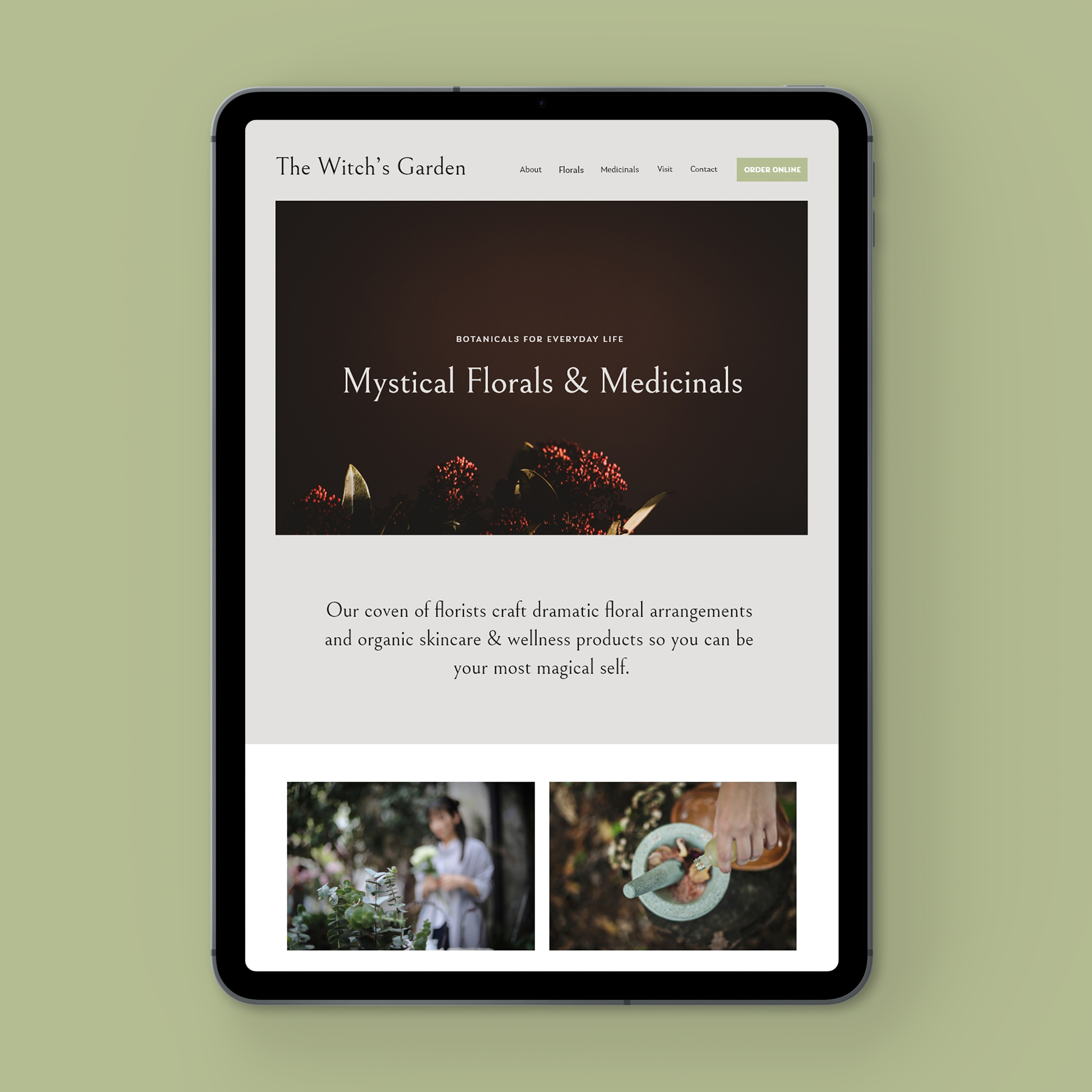 iPad view of The Witch's Garden Squarespace site