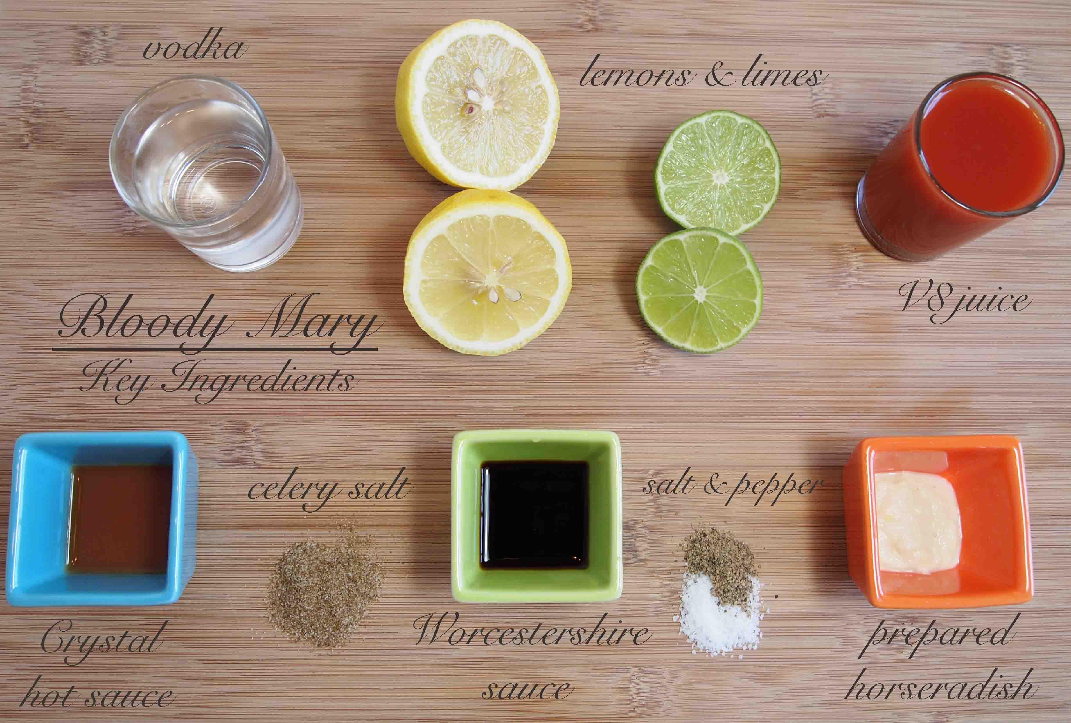 Ingredientes para Bloody Mary
