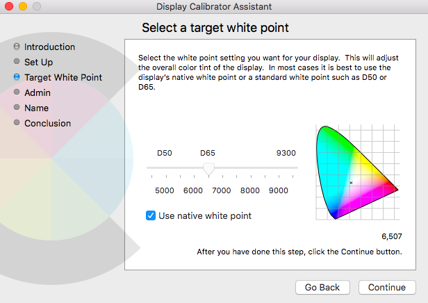 Mac display calibration assistant native white point
