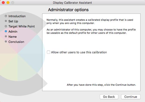 Mac display calibration assistant administrator options