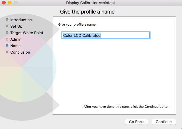 Mac display calibration assistant profile name