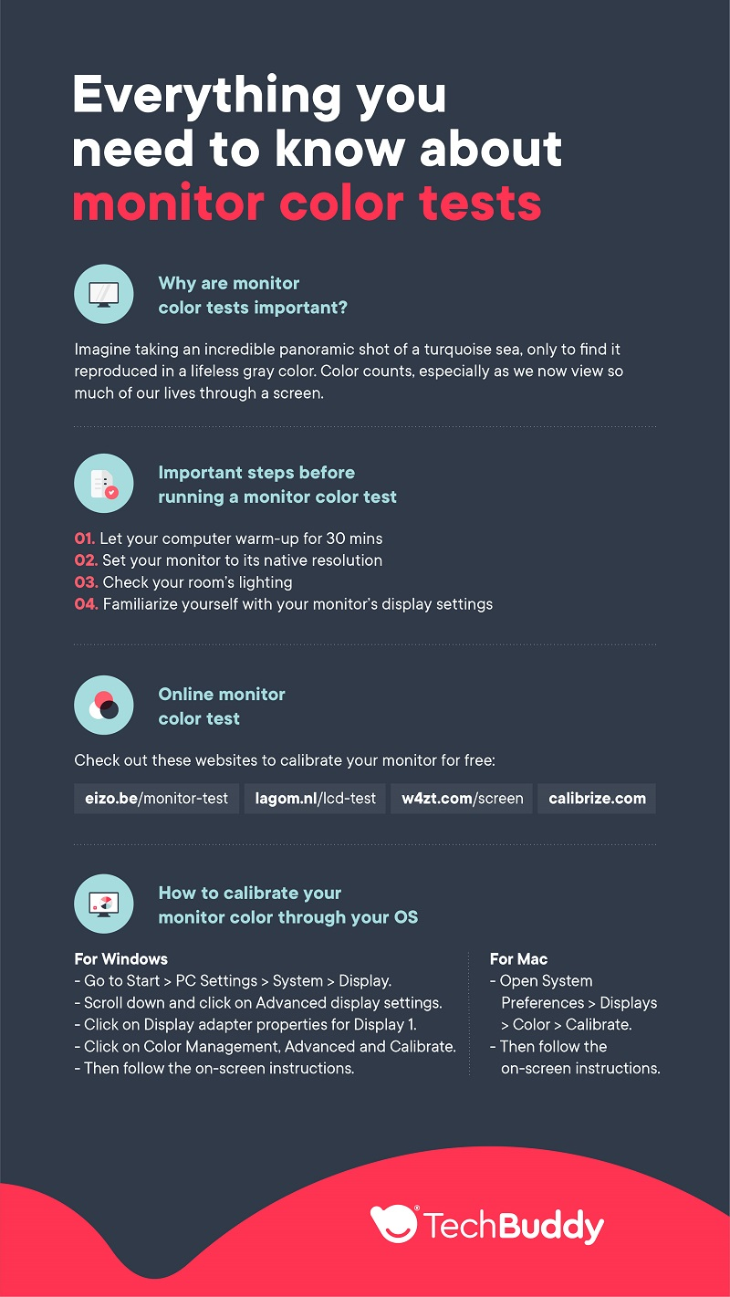 monitor color test - all you need to know - TechBuddy infographic