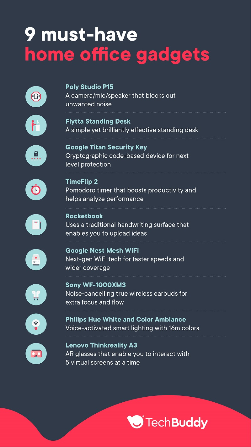 9 must-have home office gadgets - techbuddy infographic