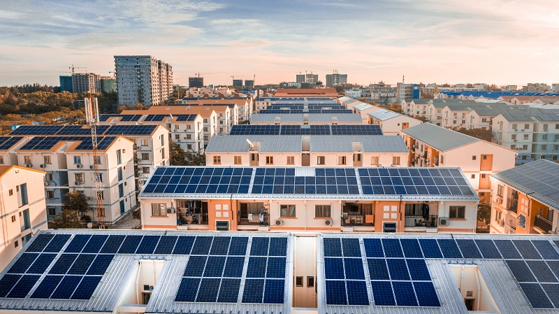 urban solar panels on top of houses