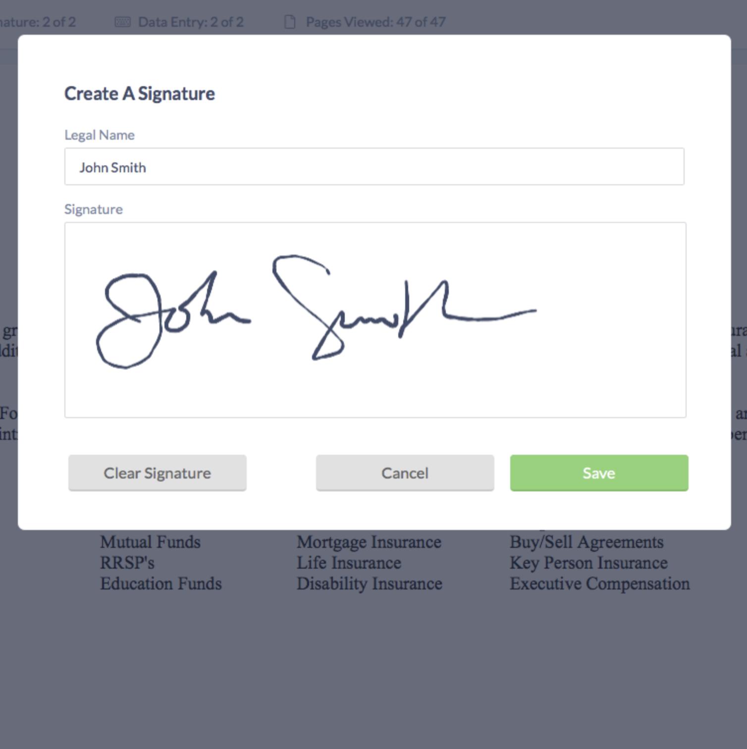 Humi's onboarding software - digital signature