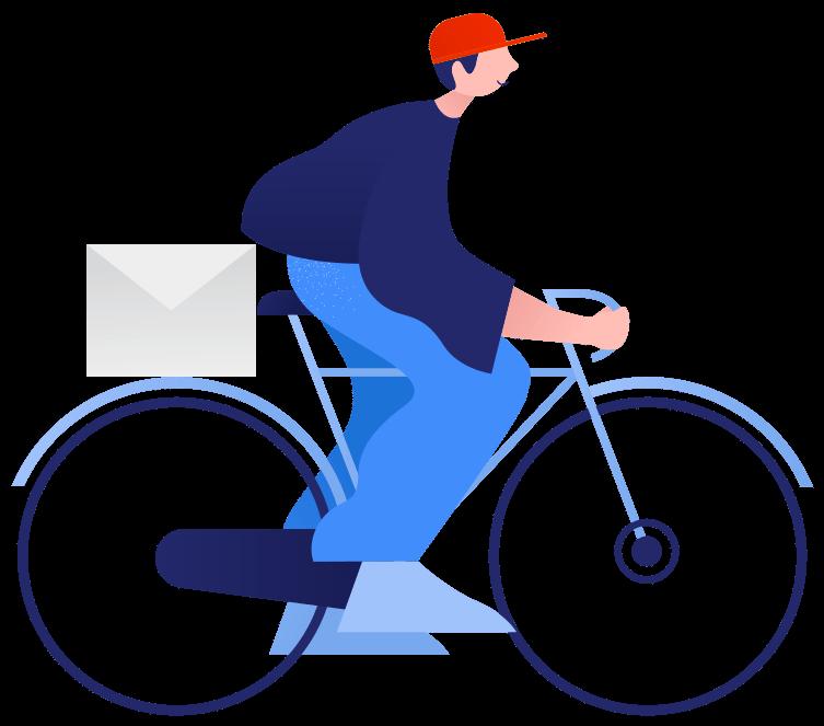 Illustration of man riding a bike delivering mail