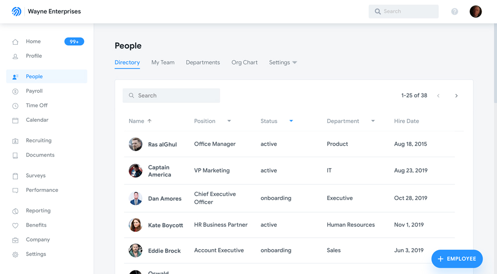 Humi's Employee management software - Employee list