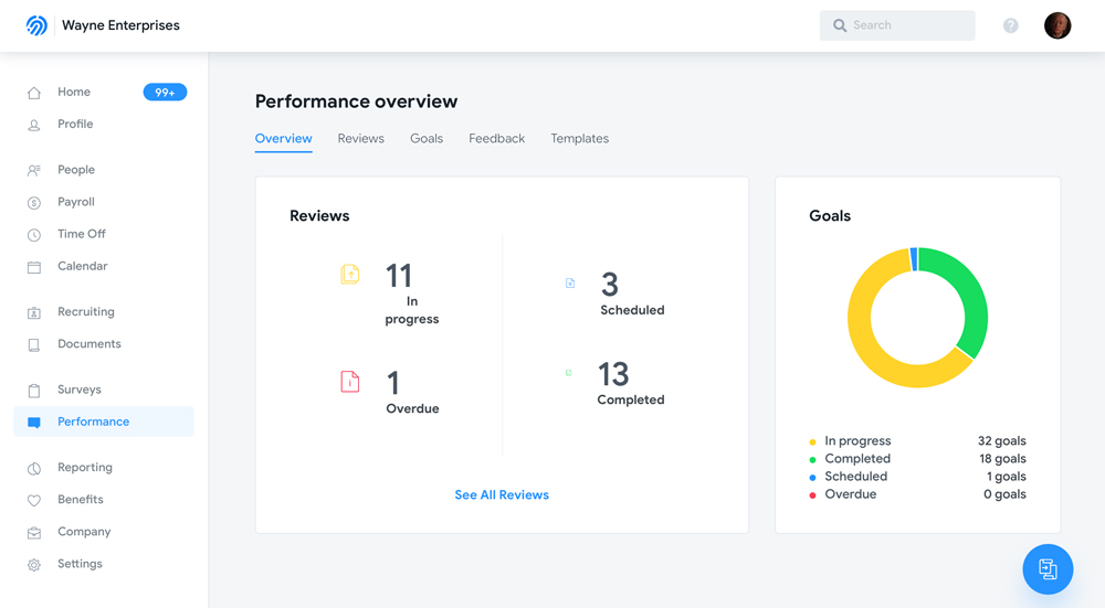 Humi's Performance management software