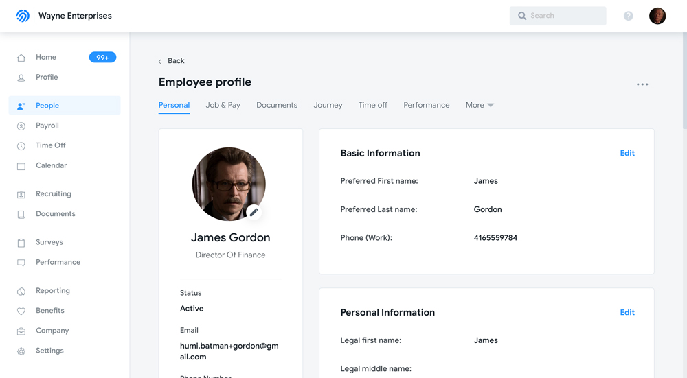 Humi's Employee management software - Employee Profile