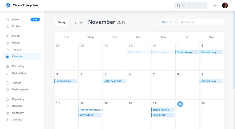 Humi's employee management calendar