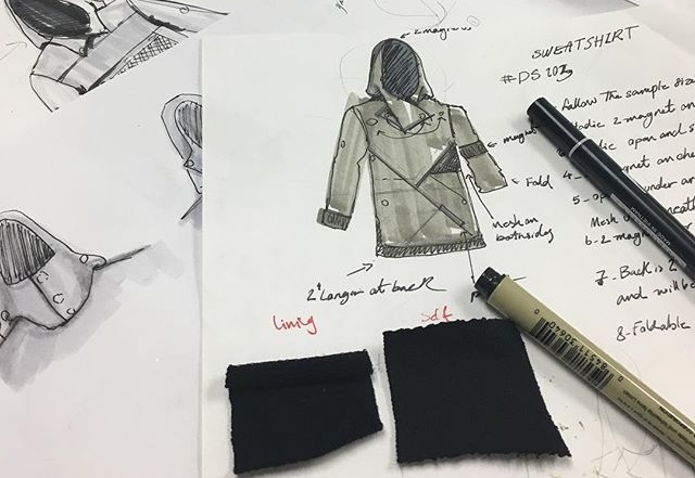 Clothing sketch with fabric swatches
