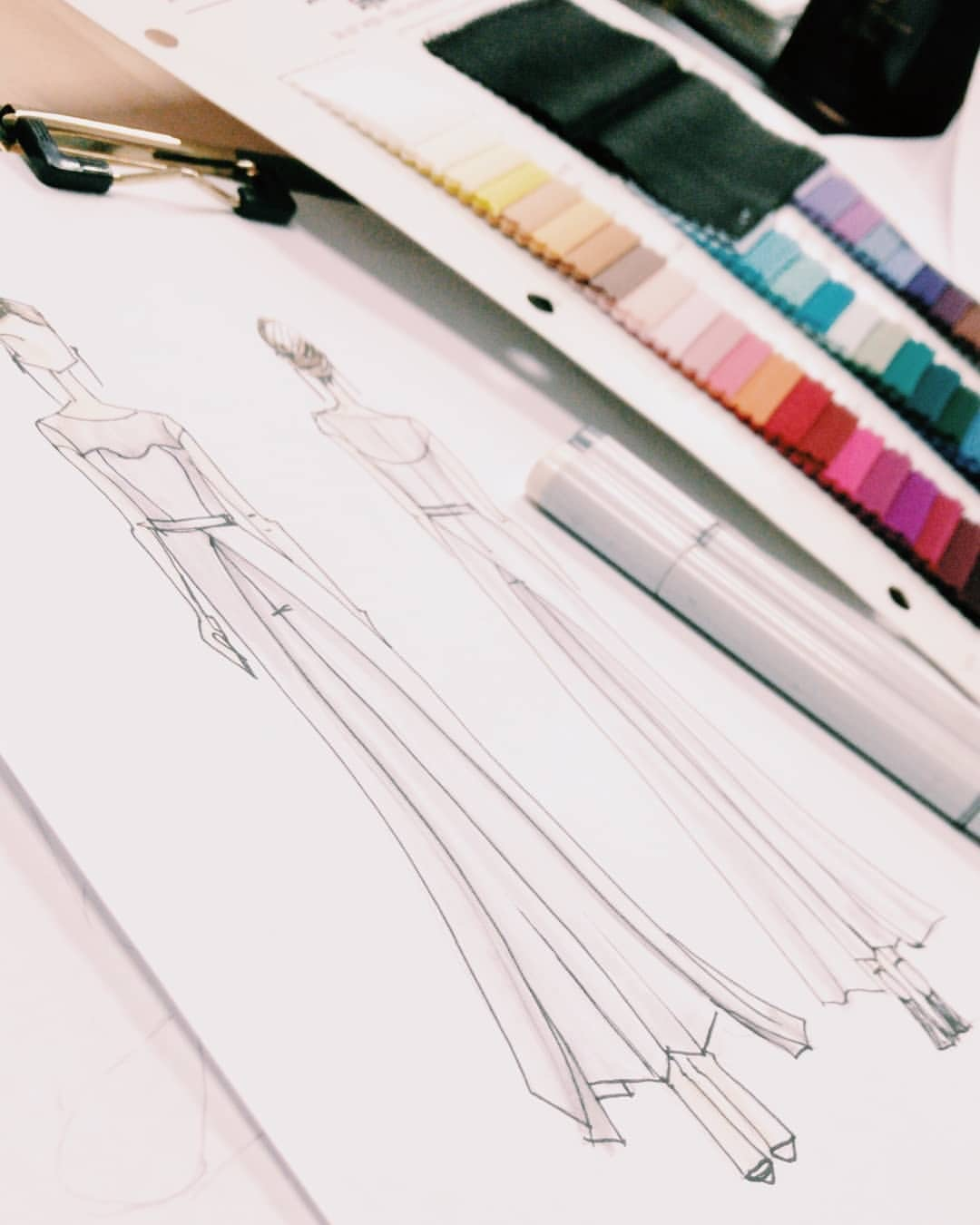 Clothing sketch and fabric swatches