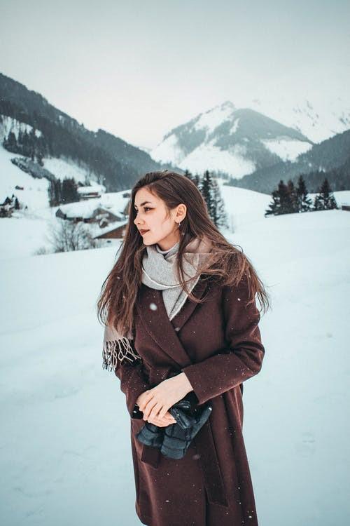 a woman wearing a winter coat