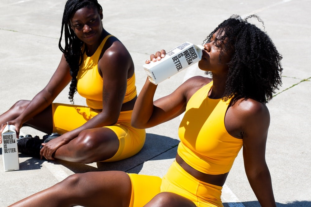 two women in athleisure apparel