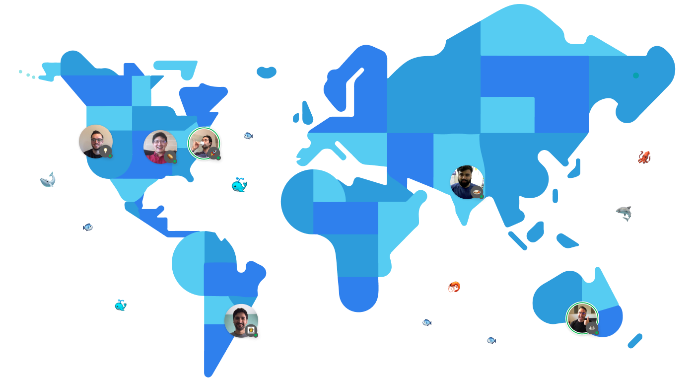 A map of the world with photos of our remote team