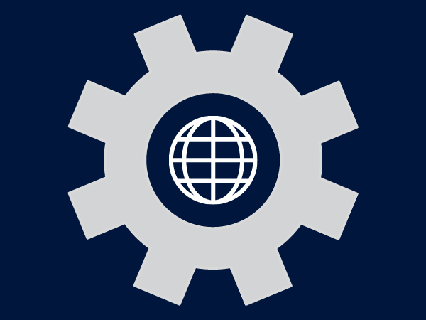 Graphic of a gear with a globe inside the center of it.