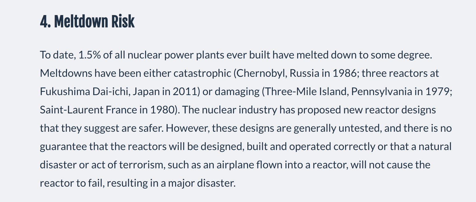 The 7 reasons why nuclear energy is not the answer to solve climate change @ Mark Z. Jacobson