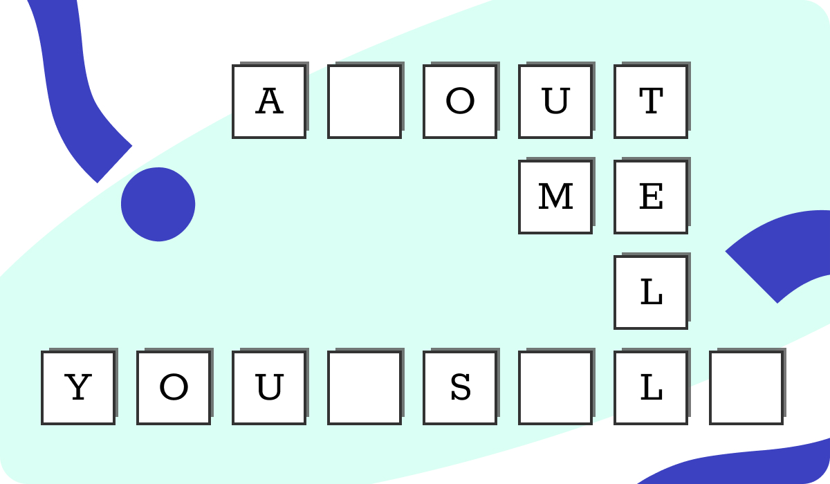 "A cross-word puzzle like illustration showing the phrase ""Tell me about yourself"""