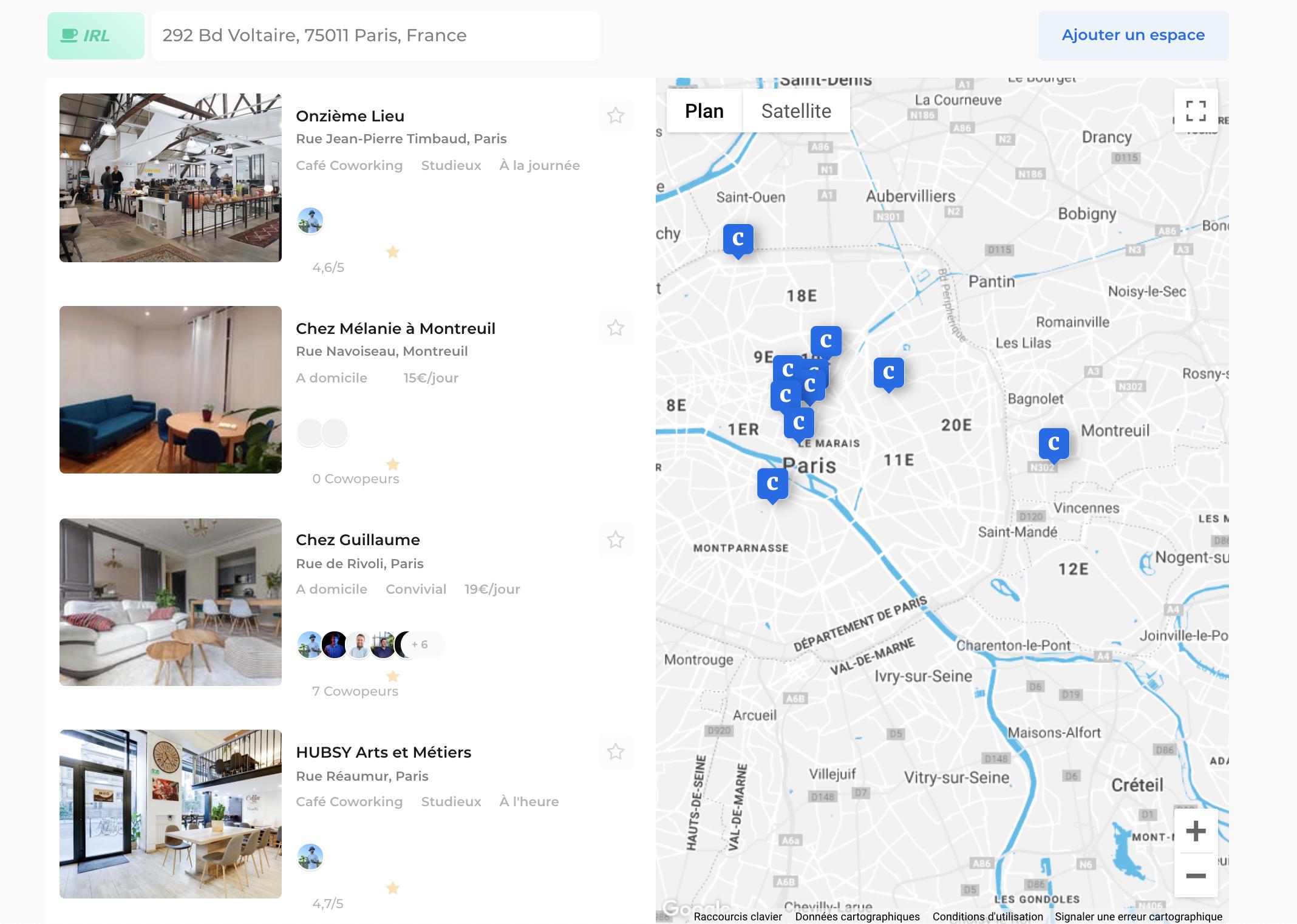 Image des espaces de coworking disponibles dans la plateforme